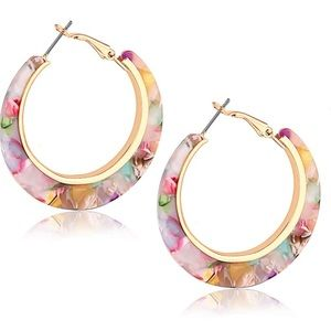 Hoop Earrings Tortoise Bohemia Statement Dangle